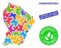 Sicherungsnatur-Collage der Karte von Französisch-Guayana mit Schmetterlingen und Gummiwasserzeichen lizenzfreie abbildung