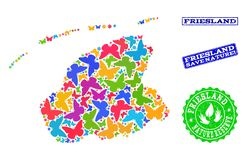 Sicherungsnatur-Collage der Karte von Friesland-Provinz mit Schmetterlingen und verkratzten Dichtungen vektor abbildung