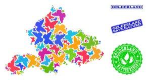 Sicherungsnatur-Collage der Karte von Gelderland-Provinz mit Schmetterlingen und Schmutz-Stempeln lizenzfreie abbildung