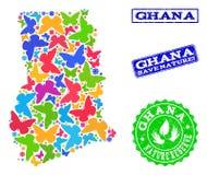 Sicherungsnatur-Collage der Karte von Ghana mit Schmetterlingen und Bedrängnis-Dichtungen vektor abbildung