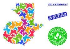 Sicherungsnatur-Collage der Karte von Guatemala mit Schmetterlingen und strukturierten Wasserzeichen stock abbildung