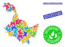 Sicherungsnatur-Collage der Karte von Heilongjiang-Provinz mit Schmetterlingen und Schmutz-Stempeln lizenzfreie abbildung
