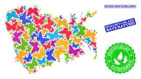 Sicherungsnatur-Collage der Karte von Insel Nuku Hiva mit Schmetterlingen und Gummiwasserzeichen vektor abbildung