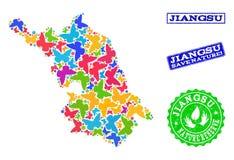 Sicherungsnatur-Collage der Karte von Jiangsu-Provinz mit Schmetterlingen und Gummidichtungen lizenzfreie abbildung