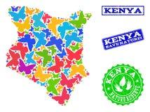 Sicherungsnatur-Collage der Karte von Kenia mit Schmetterlingen und strukturierten Stempeln vektor abbildung