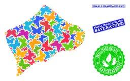 Sicherungsnatur-Collage der Karte von kleiner Inagua-Insel mit Schmetterlingen und Schmutz-Stempeln stock abbildung
