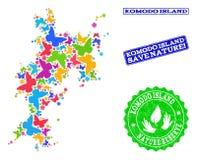 Sicherungsnatur-Collage der Karte von Komodo-Insel mit Schmetterlingen und Bedrängnis-Stempeln lizenzfreie abbildung