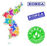 Sicherungsnatur-Collage der Karte von Korea mit Schmetterlingen und Gummidichtungen lizenzfreie abbildung