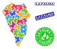 Sicherungsnatur-Collage der Karte von La Palma Island mit Schmetterlingen und Bedrängnis-Wasserzeichen lizenzfreie abbildung