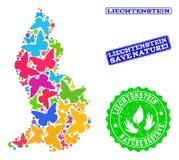 Sicherungsnatur-Collage der Karte von Liechtenstein mit Schmetterlingen und Schmutz-Wasserzeichen lizenzfreie abbildung