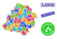Sicherungsnatur-Collage der Karte von Lodz-Provinz mit Schmetterlingen und strukturierten Stempeln lizenzfreie abbildung