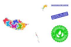 Sicherungsnatur-Collage der Karte von Madeira-Inseln mit Schmetterlingen und Bedrängnis-Wasserzeichen vektor abbildung