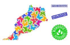 Sicherungsnatur-Collage der Karte von Marokko mit Schmetterlingen und verkratzten Dichtungen lizenzfreie abbildung