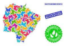 Sicherungsnatur-Collage der Karte von Mato Grosso Do Sul State mit Schmetterlingen und Stempeln lizenzfreie abbildung