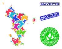 Sicherungsnatur-Collage der Karte von Mayotte-Inseln mit Schmetterlingen und Bedrängnis-Wasserzeichen vektor abbildung