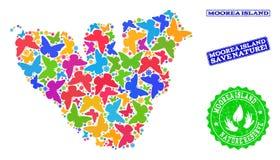 Sicherungsnatur-Collage der Karte von Moorea-Insel mit Schmetterlingen und strukturierten Stempeln vektor abbildung