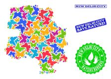 Sicherungsnatur-Collage der Karte von Neu-Delhi Stadt mit Schmetterlingen und Bedrängnis-Stempeln stock abbildung