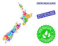 Sicherungsnatur-Collage der Karte von Neuseeland mit Schmetterlingen und Bedrängnis-Dichtungen vektor abbildung