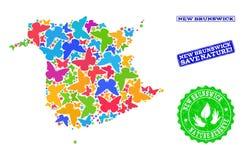 Sicherungsnatur-Collage der Karte von New-Brunswick Provinz mit Schmetterlingen und Bedrängnis-Stempeln stock abbildung