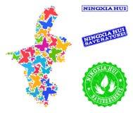 Sicherungsnatur-Collage der Karte von Ningxia Hui Region mit Schmetterlingen und verkratzten Stempeln lizenzfreie abbildung