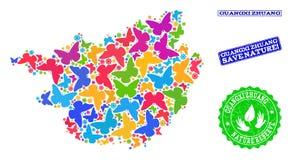 Sicherungsnatur-Collage der Karte von Region Guangxis Zhuang mit Schmetterlingen und Schmutz-Dichtungen stock abbildung