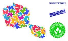 Sicherungsnatur-Collage der Karte von Tahiti-Insel mit Schmetterlingen und Bedrängnis-Wasserzeichen lizenzfreie abbildung