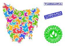Sicherungsnatur-Collage der Karte von Tasmanien-Insel mit Schmetterlingen und strukturierten Wasserzeichen vektor abbildung