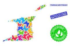 Sicherungsnatur-Collage der Karte von Trinidad und Tobago mit Schmetterlingen und Bedrängnis-Wasserzeichen stock abbildung