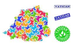 Sicherungsnatur-Collage der Karte von Vatikan mit Schmetterlingen und Gummiwasserzeichen stock abbildung