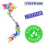 Sicherungsnatur-Collage der Karte von Vietnam mit Schmetterlingen und verkratzten Dichtungen lizenzfreie abbildung