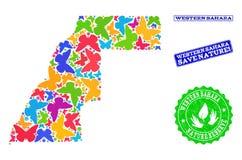 Sicherungsnatur-Collage der Karte von Westsahara mit Schmetterlingen und verkratzten Stempeln lizenzfreie abbildung