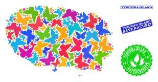 Sicherungsnatur-Zusammensetzung der Karte von Terceira-Insel mit Schmetterlingen und strukturierten Dichtungen lizenzfreie abbildung