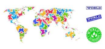 Sicherungsnatur-Zusammensetzung der Karte der Welt mit Schmetterlingen und Gummiwasserzeichen stock abbildung