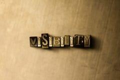 SICHT - Nahaufnahme des grungy Weinlese gesetzten Wortes auf Metallhintergrund Stockbild