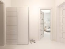 Sichtbarmachung 3D der Innenarchitekturhalle in einer Studiowohnung Lizenzfreies Stockfoto