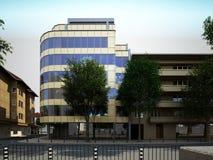 Sichtbarmachung 3D einer Fassade eines Geschäftsgebäudes Stockbilder