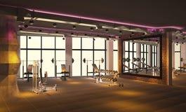 Sichtbarmachung 3D einer fitnes Innenarchitektur Stockfotos