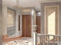 Sichtbarmachung 3D einer Innenarchitektur der Eingangshalle Lizenzfreie Stockbilder