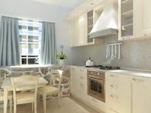 Sichtbarmachung 3D einer Innenarchitektur der Küche Stockbild