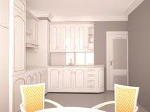 Sichtbarmachung 3D einer Innenarchitektur der Küche Lizenzfreies Stockfoto