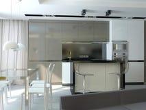 Sichtbarmachung 3D einer Innenarchitektur der Küche Stockfotografie