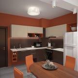 Sichtbarmachung 3D einer Innenarchitektur der Küche Stockfotos