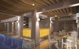 Sichtbarmachung 3D einer Innenarchitektur des BADEKURORTES Stockfoto