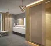 Sichtbarmachung 3D einer Innenarchitektur des Badezimmers Stockfotografie