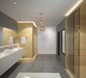 Sichtbarmachung 3D einer Innenarchitektur des Badezimmers Stockbild