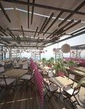 Sichtbarmachung 3D einer Innenarchitektur des Cafés Lizenzfreies Stockfoto