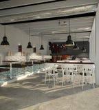 Sichtbarmachung 3D einer Innenarchitektur des Cafés Stockfoto