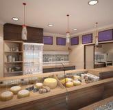 Sichtbarmachung 3D einer Innenarchitektur des Käseshops Stockfotos