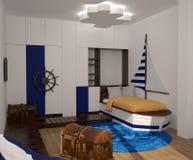 Sichtbarmachung 3D einer Innenarchitektur des Kinderschlafzimmers Stockbild