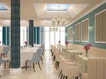 Sichtbarmachung 3D einer Innenarchitektur des Restaurants Stockbilder